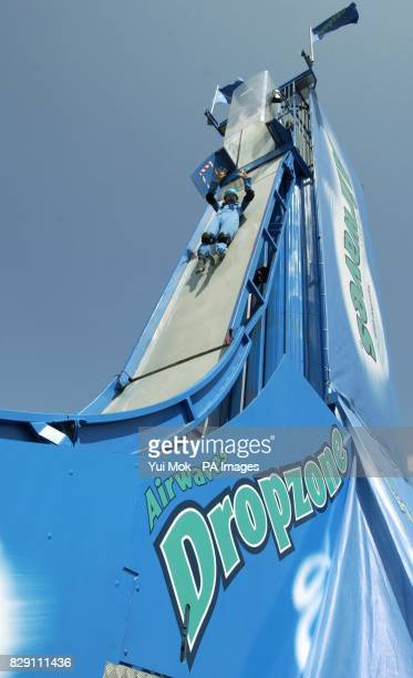 Toby Burgess from London tries out the Airwaves Dropzone ride the world's first trapdoor mobile slide at the Urban Games being held at Clapham Common...