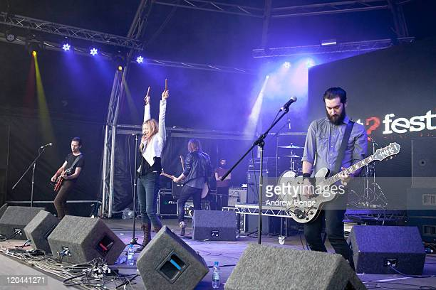 Toby Butler Leila Moss and Luke Ford of The Duke Spirit performs on stage during the first day of YNot Festival 2011 on August 5 2011 in Matlock...