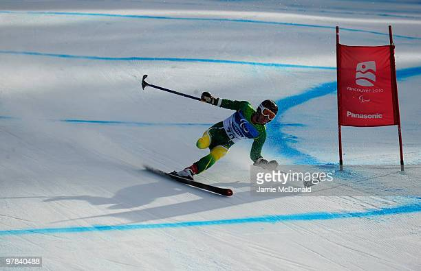 Toby Cane of Australia competes in the Men's Standing Downhill during Day 7 of the 2010 Vancouver Winter Paralympics at Whistler Creekside on March...