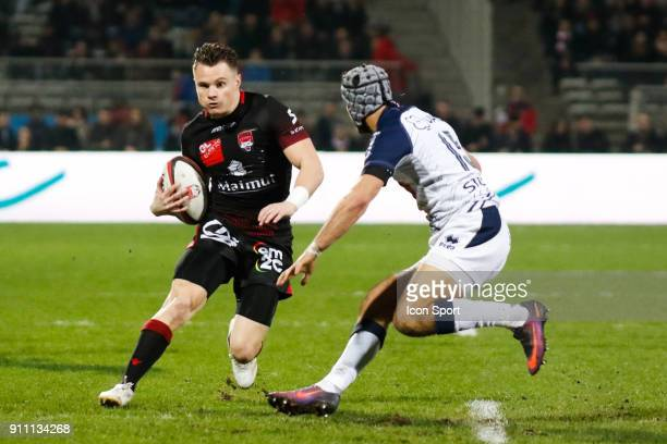 Toby Carter Arnold of Lyon and Clément Laporte of Agen during the Top 14 match between Lyon and Agen at Gerland Stadium on January 27 2018 in Lyon...