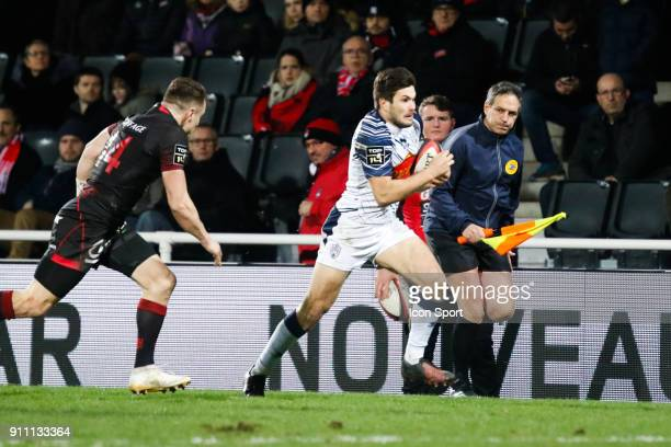 Toby Carter Arnold of Lyon and Valentin Saurs of Agen during the Top 14 match between Lyon and Agen at Gerland Stadium on January 27 2018 in Lyon...