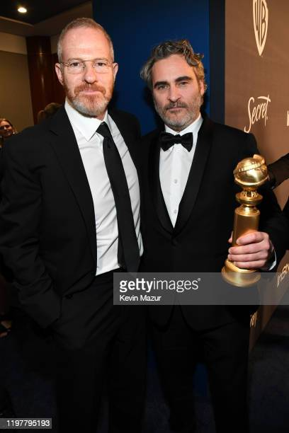 Toby Emmerich and Joaquin Phoenix attend The 2020 InStyle And Warner Bros 77th Annual Golden Globe Awards PostParty at The Beverly Hilton Hotel on...