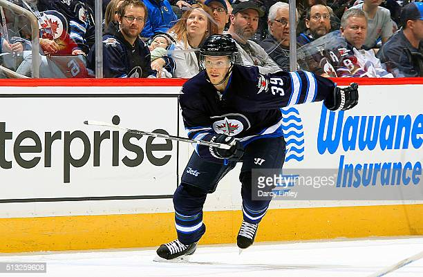 Toby Enstrom of the Winnipeg Jets follows the play up the ice during third period action against the Florida Panthers at the MTS Centre on March 1...