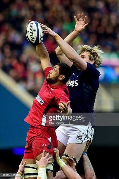 Toby Faletau of Wales and Richie Gray of Scotland compete for lineout ball during the RBS Six Nations match between Scotland and Wales at Murrayfield...