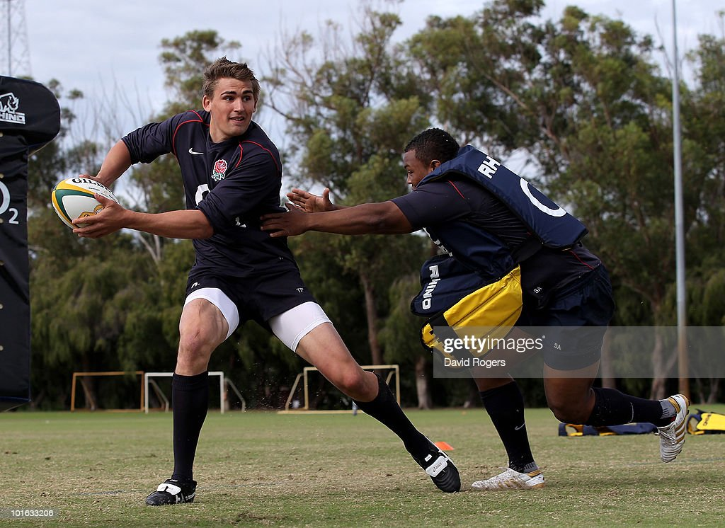 Toby Flood moves past Steffon Armitage during a England rugby training session at McGillivray Oval on June 5, 2010 in Perth, Australia.