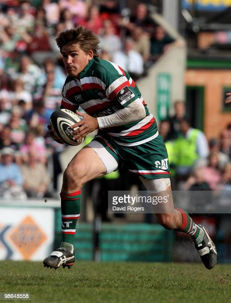 Toby Flood of Leicester charges upfield during the Guinness Premiership match between Leicester Tigers and Harlequins at Welford Road on April 24,...