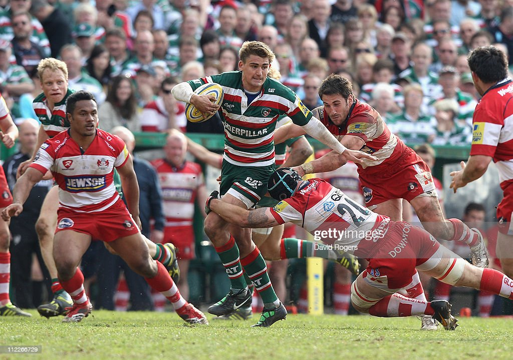 Toby Flood of Leicester is tackled during the Aviva Premiership match between Leicester Tigers and Gloucester at Welford Road on April 16, 2011 in Leicester, England.