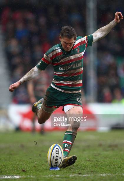 Toby Flood of Leicester Tigers in action kicking during the Aviva Premiership match between Leicester Tigers and Gloucester at Welford Road on March...