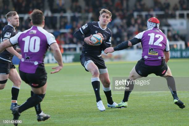 Toby Flood of Newcastle Falcons steps inside during the Greene King IPA Championship match between Newcastle Falcons and Cornish Pirates at Kingston...