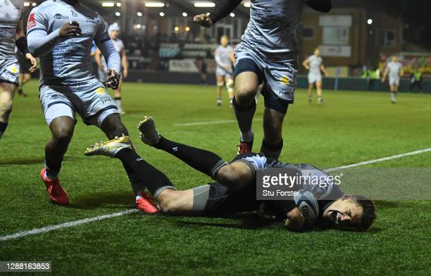 Toby Flood of the Falcons scores the winning try during the Gallagher Premiership Rugby match between Newcastle Falcons and Sale at Kingston Park on...