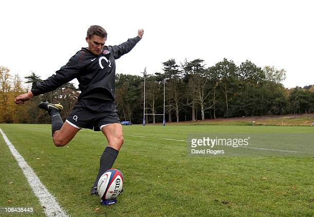 Toby Flood practices his kicking during the England training session held at Pennyhill Park Hotel on November 2 2010 in Bagshot England