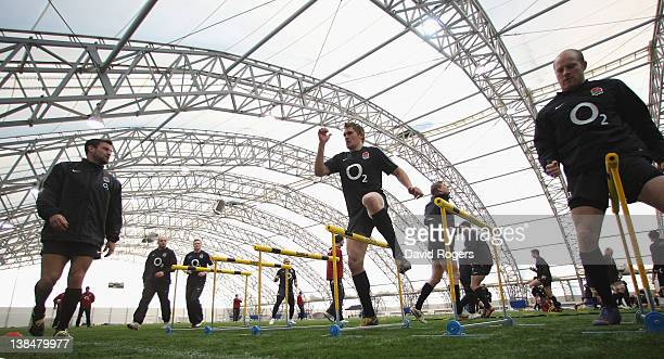 Toby Flood warms up during the England training session held at the Soccer Dome on February 7 2012 in Greenwich England