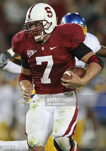 Toby Gerhart of the Stanford Cardinal runs with the ball against the San Jose State Spartans at Stanford Stadium on September 20 2008 in Stanford...