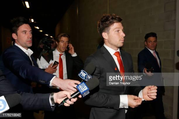 Toby Greene leaves the AFL Tribunal Hearing at AFL House on September 17, 2019 in Melbourne, Australia.