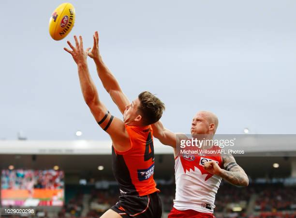 Toby Greene of the Giants and Zak Jones of the Swans compete for the ball during the 2018 AFL Second Elimination Final match between the Sydney Swans...