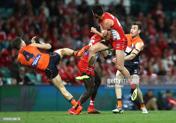 Toby Greene of the Giants attempts to mark during the AFL Second Elimination Final match between the Sydney Swans and the GWS Giants at Sydney...