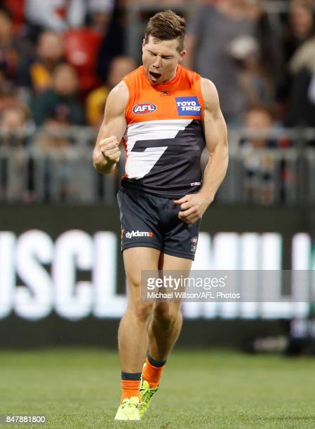 Toby Greene of the Giants celebrates a goal during the 2017 AFL First Semi Final match between the GWS Giants and the West Coast Eagles at Spotless...