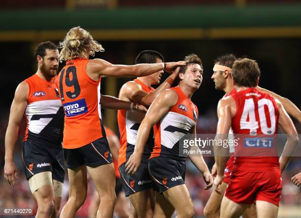 Toby Greene of the Giants celebrates a goal during the round five AFL match between the Sydney Swans and the Greater Western Sydney Giants at Sydney...