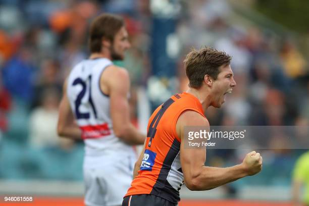 Toby Greene of the Giants celebrates a goal during the round four AFL match between the Greater Western Sydney Giants and the Fremantle Dockers at...