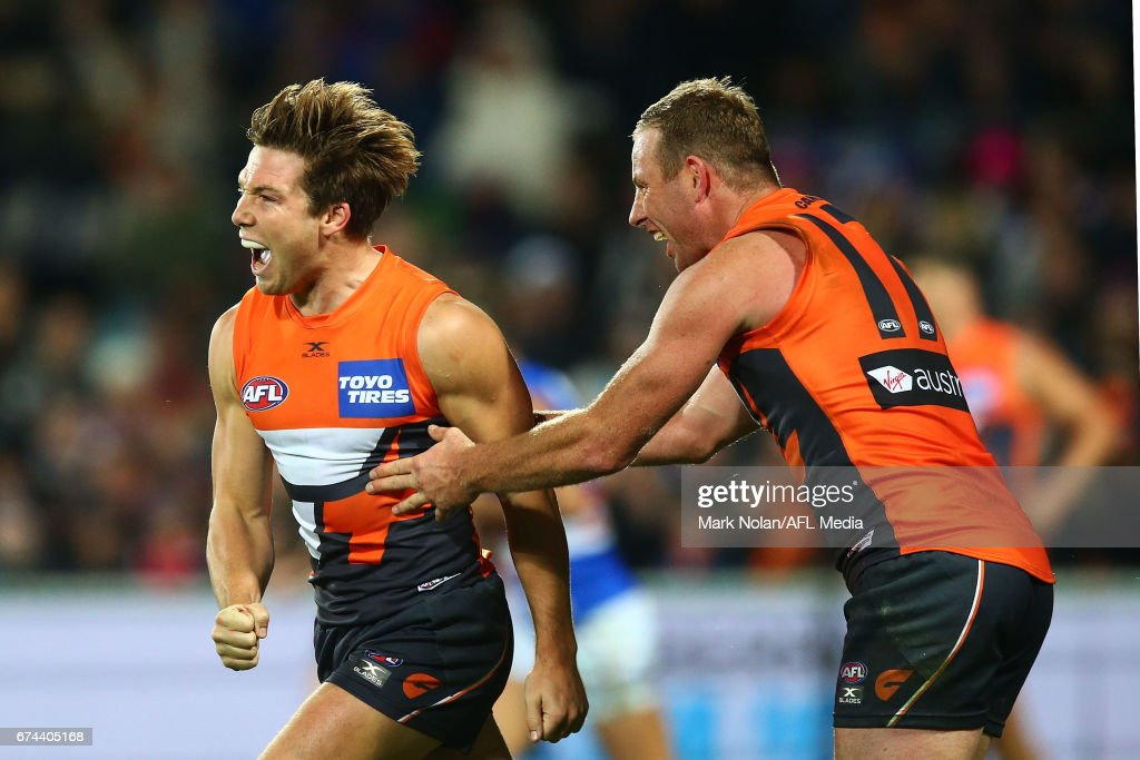 Toby Greene of the Giants celebrates a goal during the round six AFL match between the Greater Western Sydney Giants and the Western Bulldogs at UNSW Canberra Oval on April 28, 2017 in Canberra, Australia.