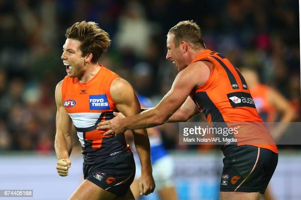 Toby Greene of the Giants celebrates a goal during the round six AFL match between the Greater Western Sydney Giants and the Western Bulldogs at UNSW...