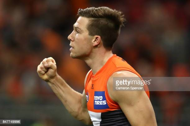 Toby Greene of the Giants celebrates kicking a goal during the AFL First Semi Final match between the Greater Western Sydney Giants and the West...
