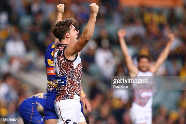 Toby Greene of the Giants celebrates winning the round 10 AFL match between the West Coast Eagles and the Greater Western Giants at Domain Stadium on...