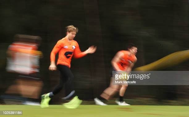 Toby Greene of the Giants in action during a Greater Western Sydney Giants AFL training session at the WestConnex Centre on August 31 2018 in Sydney...