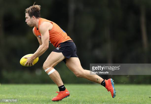 Toby Greene of the Giants in action during the Greater Western Sydney Giants media session at Sydney Olympic Park Sports Centre on March 19, 2019 in...