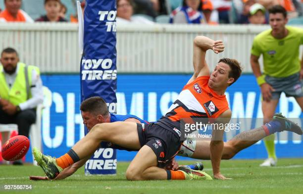 Toby Greene of the Giants in action during the round one AFL match between the Greater Western Sydney Giants and the Western Bulldogs at UNSW...