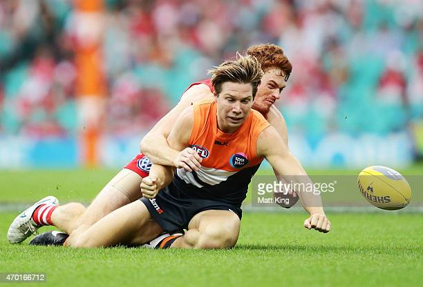Toby Greene of the Giants is tackled by Gary Rohan of the Swans uring the round three AFL match between the Sydney Swans and the Greater Western...