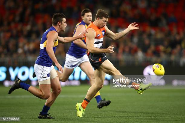 Toby Greene of the Giants kicks during the AFL First Semi Final match between the Greater Western Sydney Giants and the West Coast Eagles at Spotless...