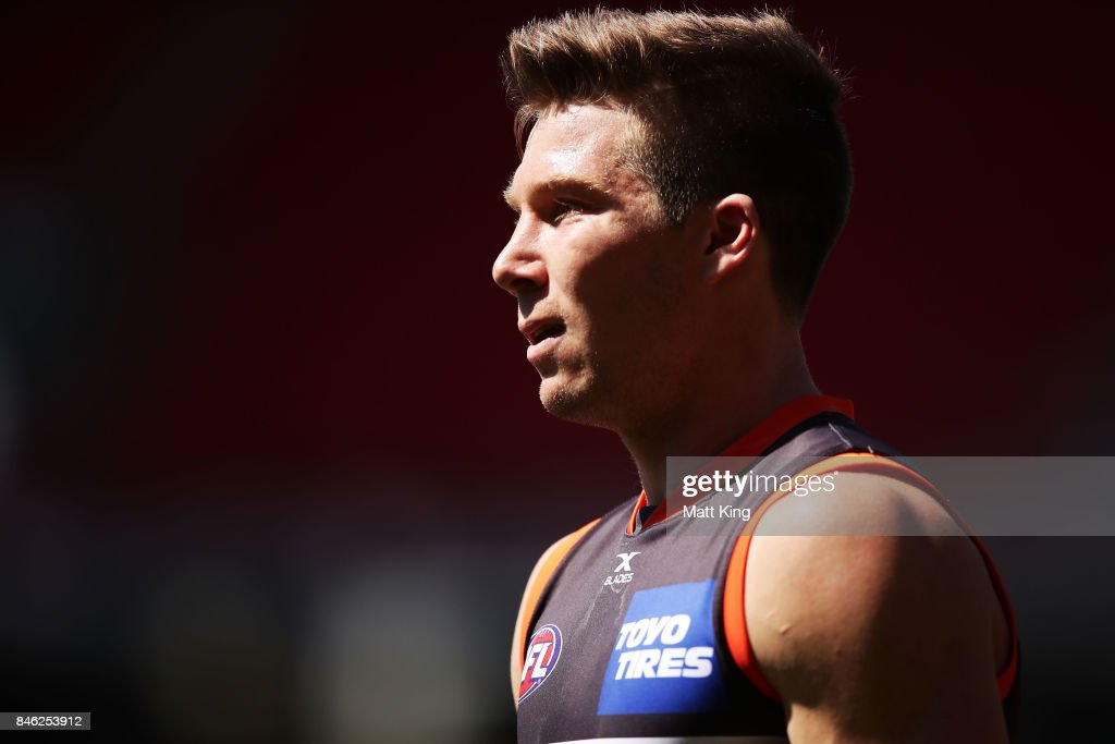 Toby Greene of the Giants looks on during the Greater Western Sydney Giants AFL training session at Spotless Stadium on September 13, 2017 in Sydney, Australia.