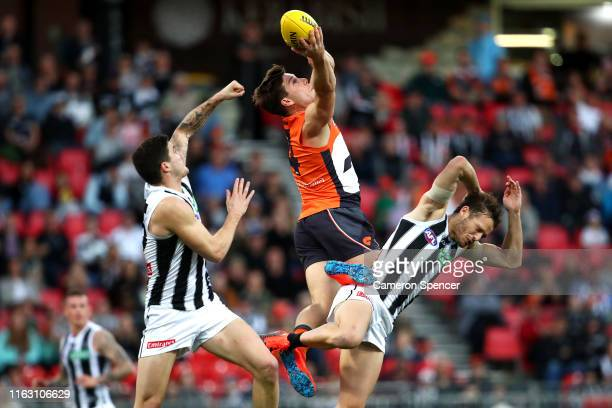 Toby Greene of the Giants marks during the Greater Western Sydney Giants and the Collingwood Magpies at GIANTS Stadium on July 20, 2019 in Sydney,...