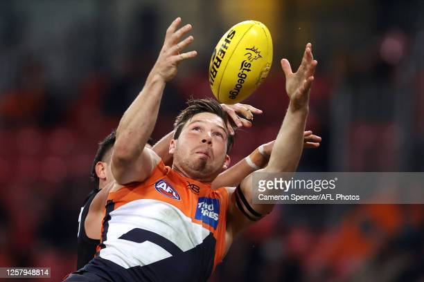Toby Greene of the Giants marks during the round 8 AFL match between the Greater Western Sydney Giants and the Richmond Tigers at GIANTS Stadium on...