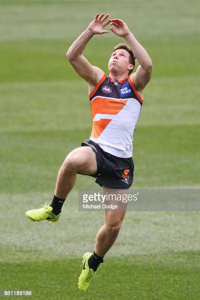 Toby Greene of the Giants marks the ball during the Greater Western Sydney Giants AFL training session at Melbourne Cricket Ground on September 22...