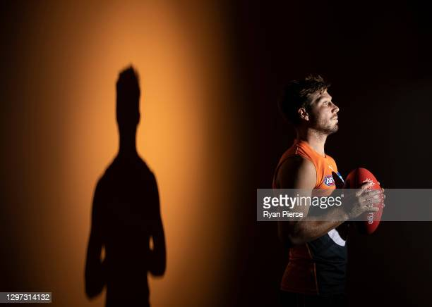 Toby Greene of the Giants poses during the GWS Giants AFL portrait session on January 19, 2021 in Sydney, Australia.