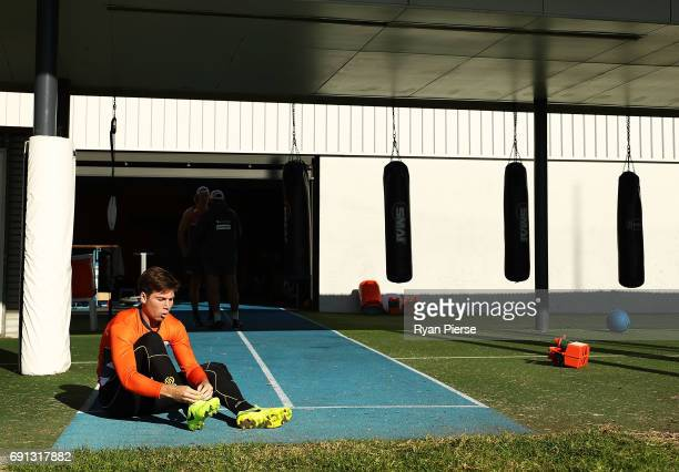 Toby Greene of the Giants prepares to train during a Greater Western Sydney Giants AFL training session at Sydney Olympic Park on June 2, 2017 in...