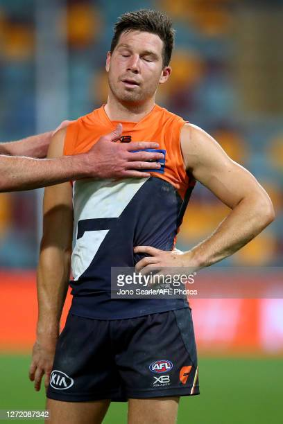 Toby Greene of the Giants reacts to his teams loss after the round 17 AFL match between the Greater Western Sydney Giants and the Melbourne Demons at...