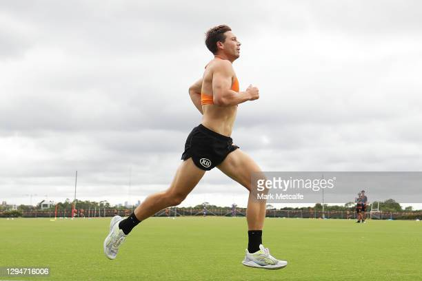 Toby Greene of the Giants runs during a Greater Western Sydney Giants AFL training session at Sydney Olympic Park Sports Centre on January 06, 2021...
