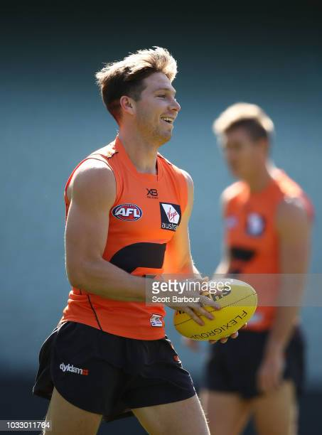 Toby Greene of the Giants runs with the ball during a Greater Western Sydney Giants AFL media opportunity at the Melbourne Cricket Ground on...