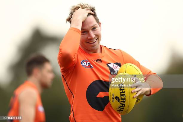 Toby Greene of the Giants smiles during a Greater Western Sydney Giants AFL training session at the WestConnex Centre on August 31 2018 in Sydney...