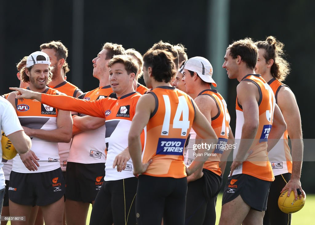 Toby Greene of the Giants speaks to his team mates during a Greater Western Sydney Giants AFL training session at Sydney Olympic Park on June 2, 2017 in Sydney, Australia.