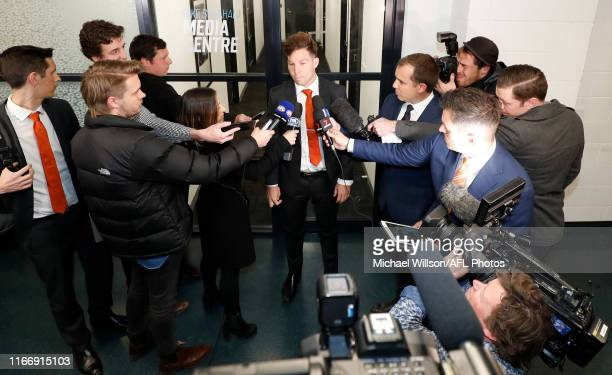 Toby Greene of the Giants speaks with media after his AFL tribunal hearing at AFL House on September 09, 2019 in Melbourne, Australia.