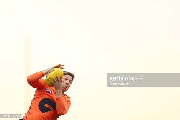 Toby Greene of the Giants takes a mark during a Greater Western Sydney Giants AFL training session at the WestConnex Centre on August 31 2018 in...
