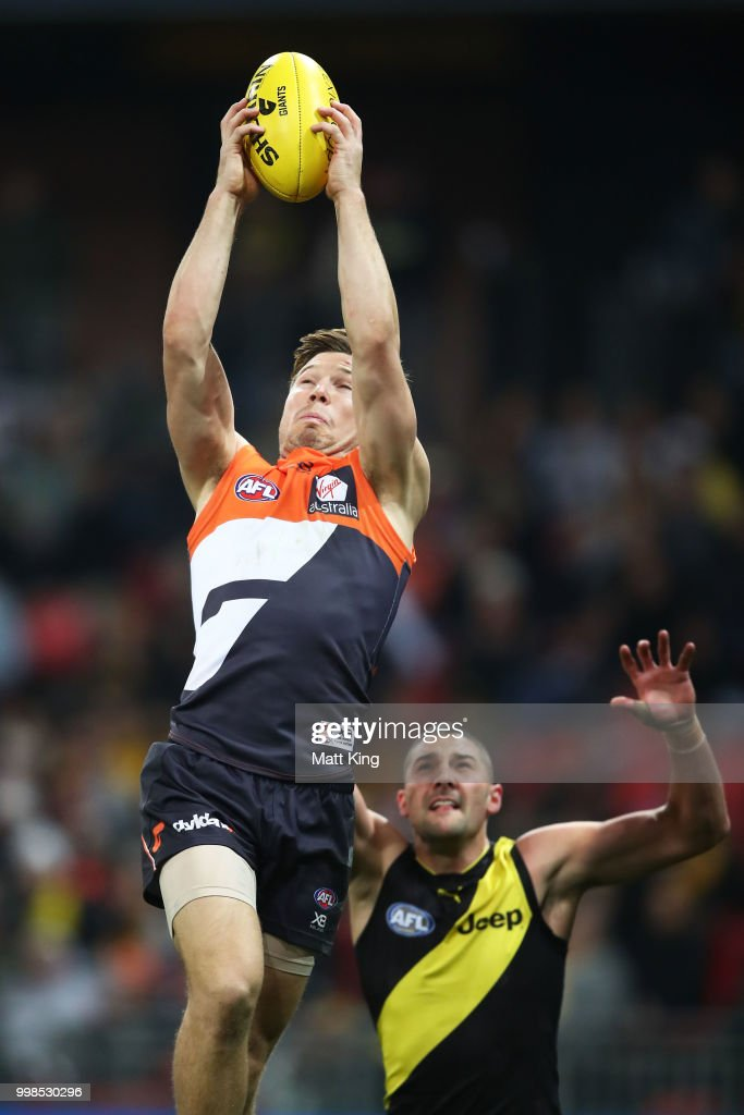 Toby Greene of the Giants takes a mark during the round 17 AFL match between the Greater Western Sydney Giants and the Richmond Tigers at Spotless Stadium on July 14, 2018 in Sydney, Australia.