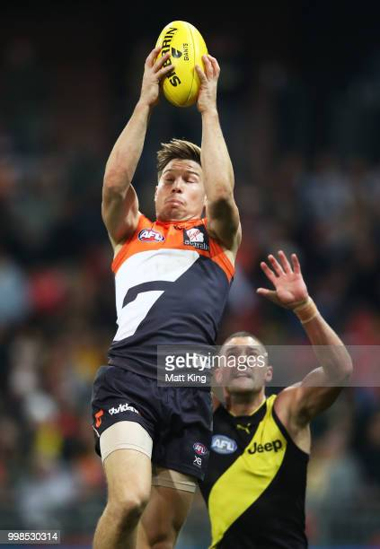 Toby Greene of the Giants takes a mark during the round 17 AFL match between the Greater Western Sydney Giants and the Richmond Tigers at Spotless...