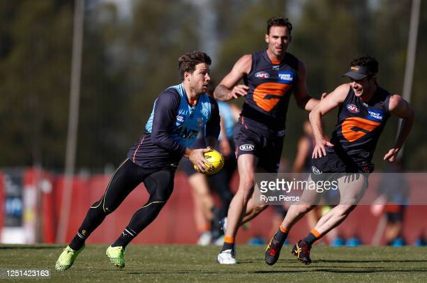 Toby Greene of the Giants trains during a Greater Western Sydney Giants AFL training session at Tom Wills Oval on June 23, 2020 in Sydney, Australia.