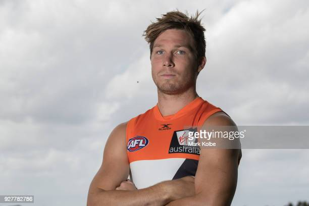 Toby Greene poses after a GWS Giants AFL Media Announcement that Greene has signed with the Giants on a 6 year contract at the WestConnex Centre on...