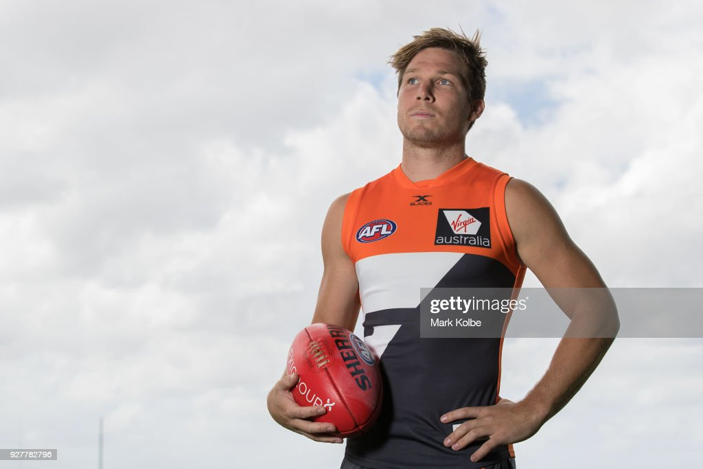 Toby Greene poses after a GWS Giants AFL Media Announcement that Greene has signed with the Giants on a 6 year contract at the WestConnex Centre on March 6, 2018 in Sydney, Australia.